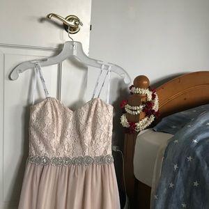 strapless pink long lace dress !!